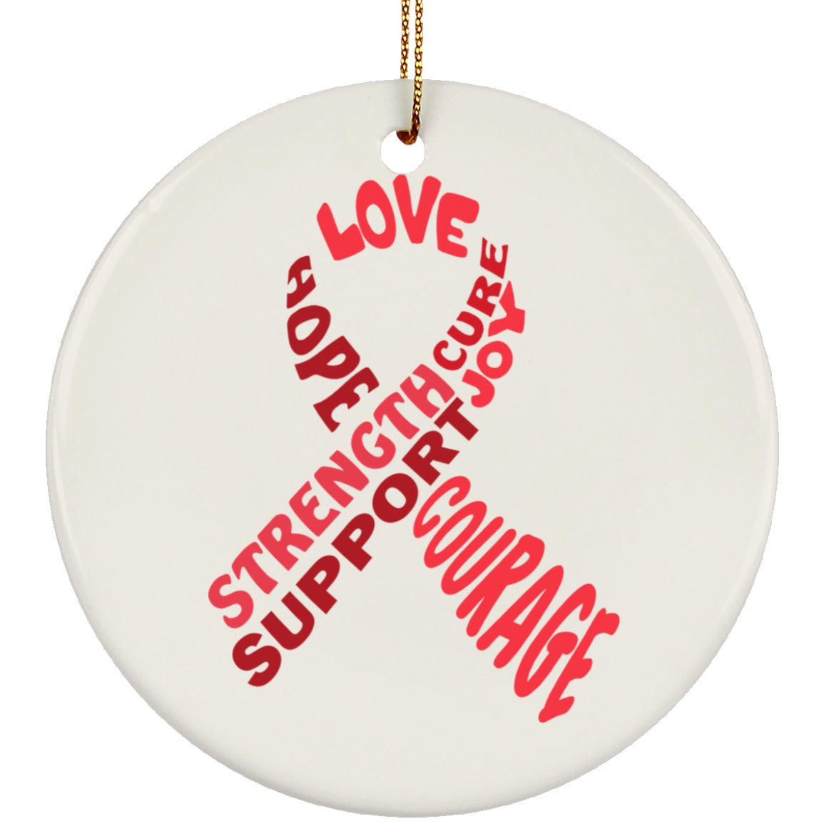 Red Awareness Ribbon With Words Circle Ornament - The Unchargeables
