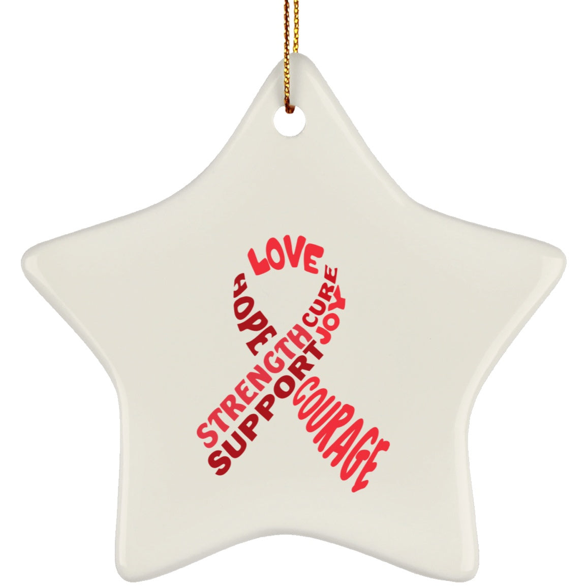 Red Awareness Ribbon With Words Star Ornament - The Unchargeables