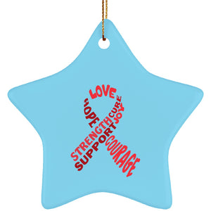 Red Awareness Ribbon With Words Star Ornament