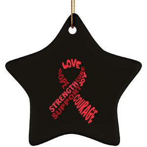 Red Text Ribbon Star Ornament - The Unchargeables