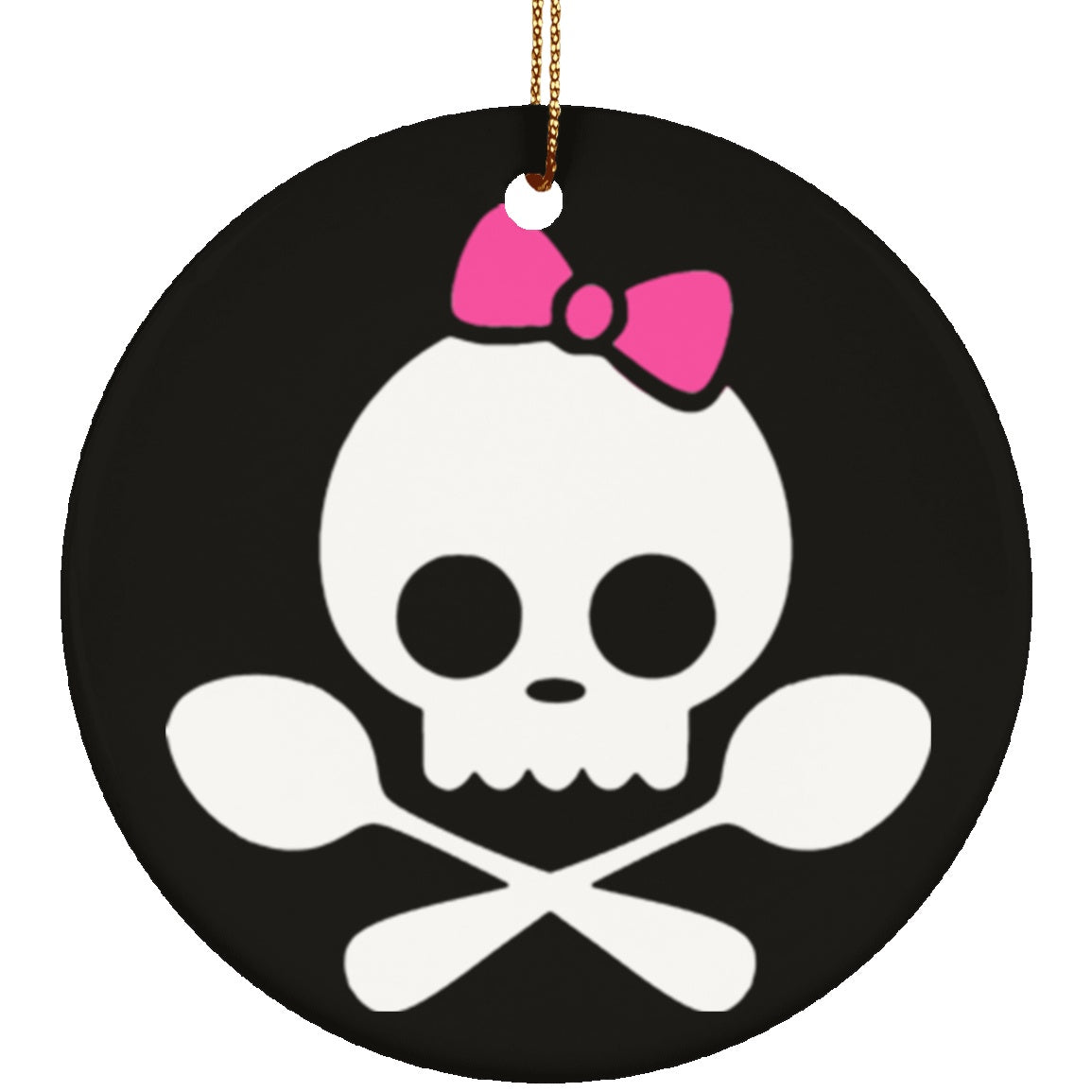 Spoonie Skull Pink Bow Circle Ornament - The Unchargeables