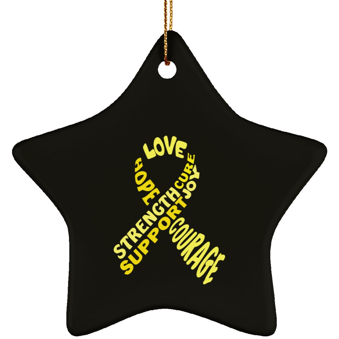Yellow Awareness Ribbon With Words Ceramic Star Ornament