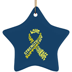 Yellow Awareness Ribbon With Words Star Ornament - The Unchargeables