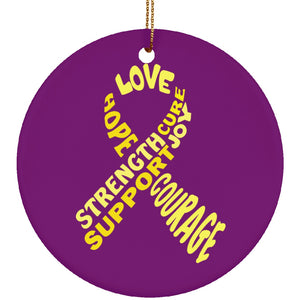 Yellow Text Ribbon Circle Ornament