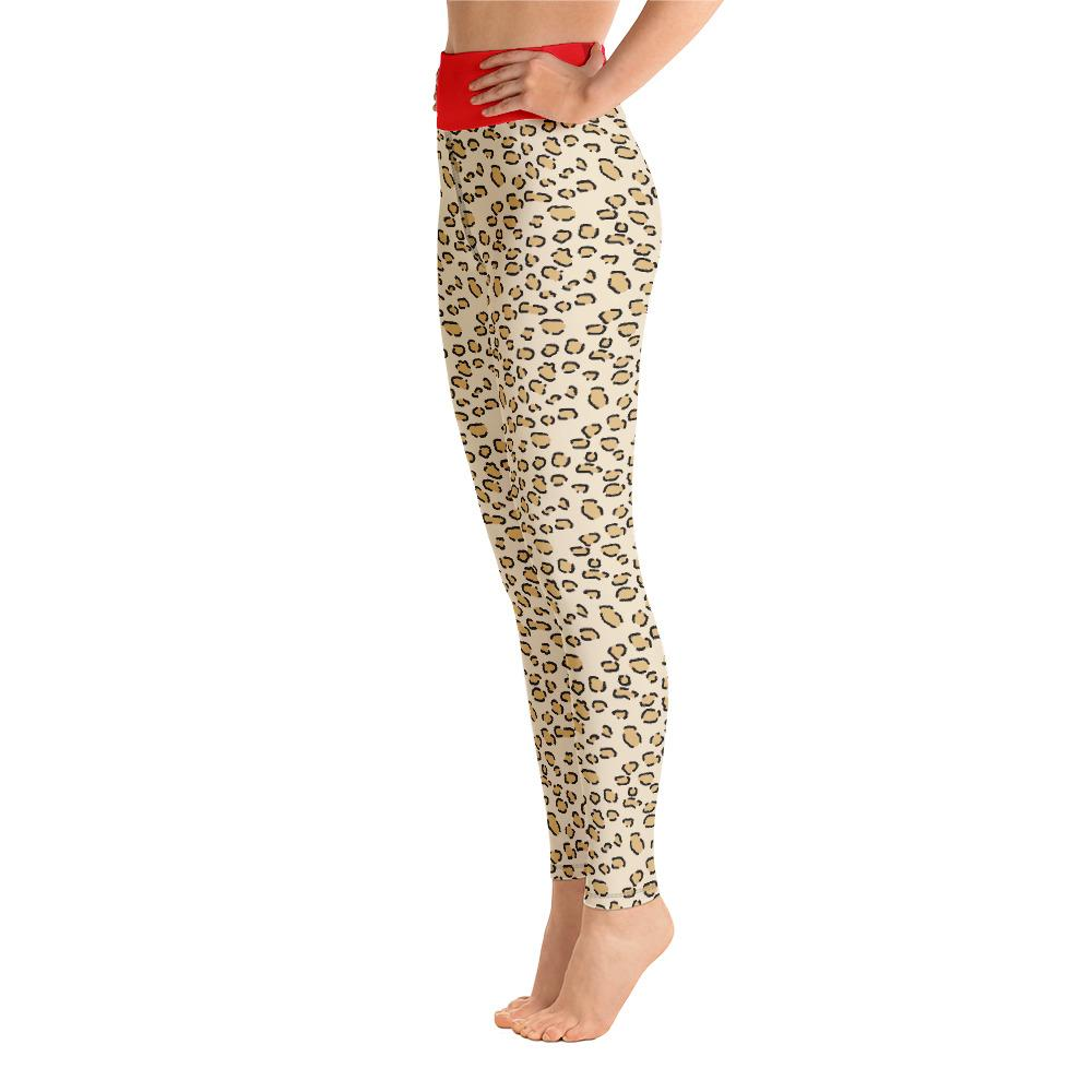 Leopard Print With Red Border Yoga Leggings With Pocket