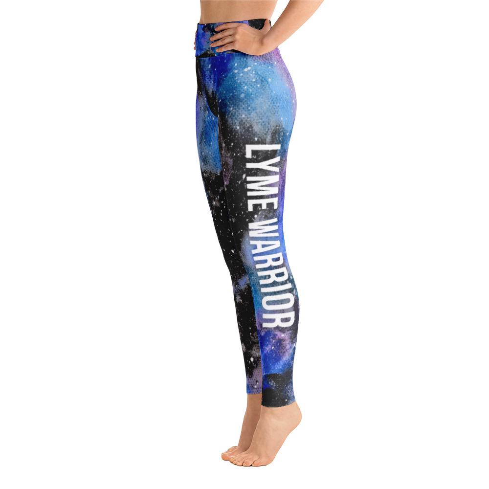 Lyme Disease - Lyme Warrior NFTW Black Galaxy Yoga Leggings With High Waist and Coin Pocket - The Unchargeables