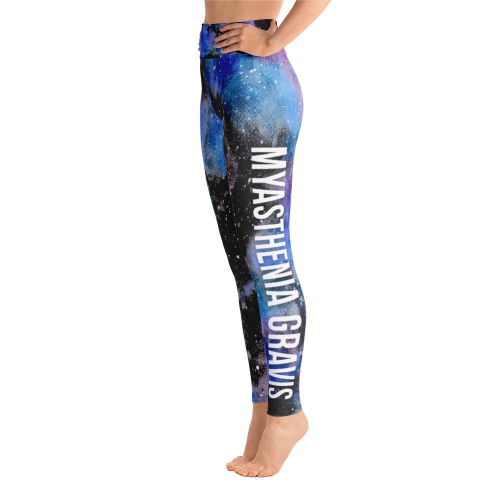 Myasthenia Gravis Warrior NFTW Black Galaxy Yoga Leggings With High Waist and Coin Pocket - The Unchargeables