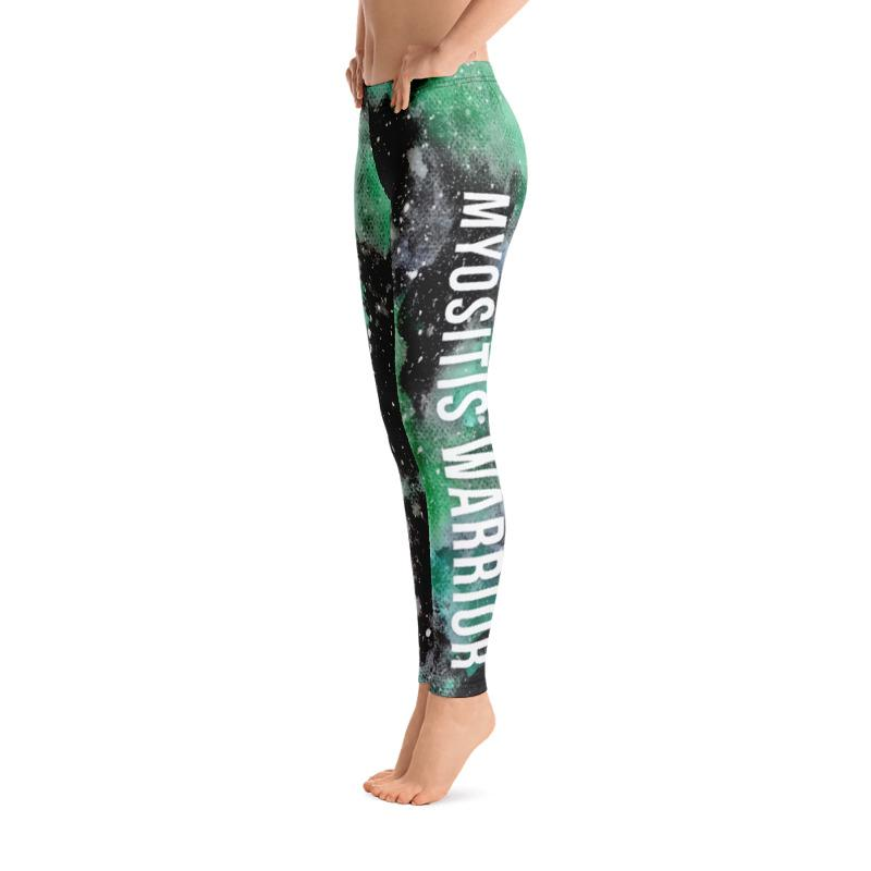 Myositis Warrior Black Green Galaxy Leggings