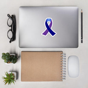 Navy, Blue and Purple Awareness Ribbon Sticker