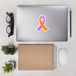 Orange and Orchid Awareness Ribbon Sticker