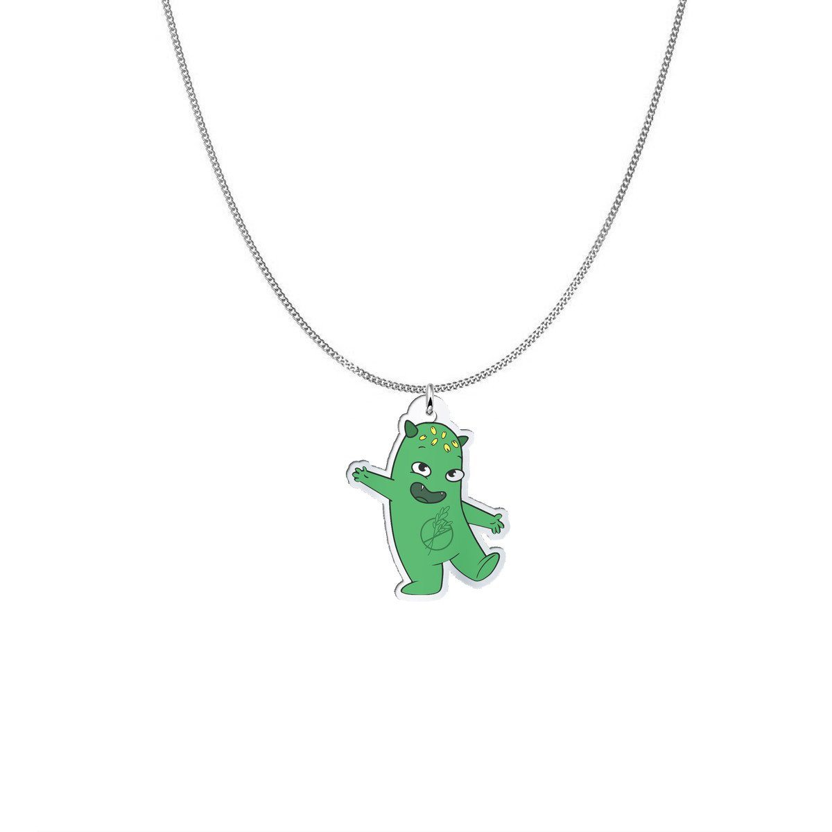 Pendant - Lutes The Celiac Disease Monster Silver Necklace