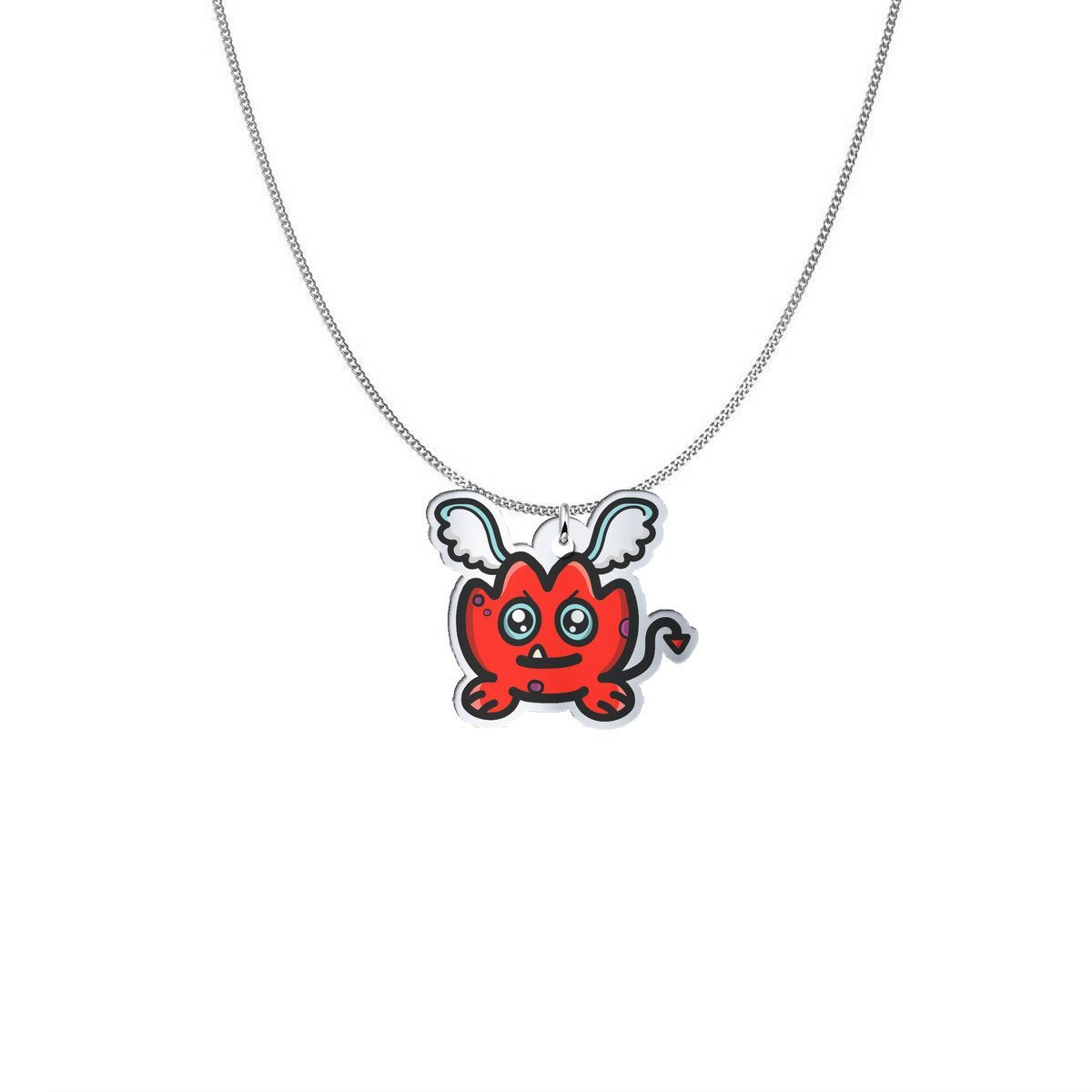 Pendant - Rara The Cheeky Demon Of Fear Silver Necklace