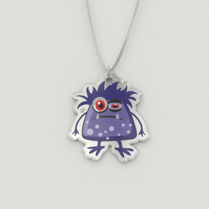 Pendant - Sleepy The Chronic Fatigue Monster Silver Necklace