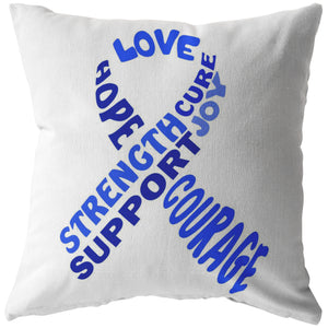Blue Awareness Ribbon With Words Pillow