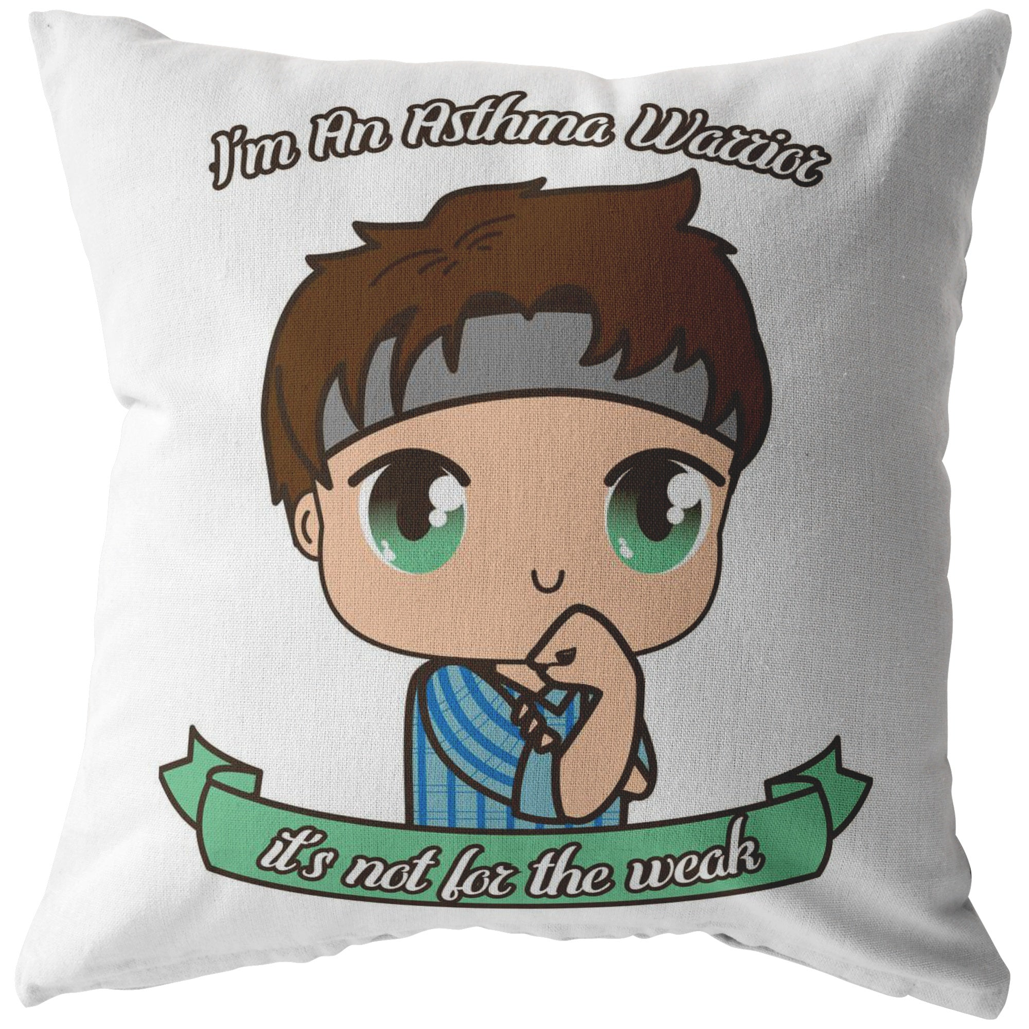 Cute Asthma Warrior Boy Pillow