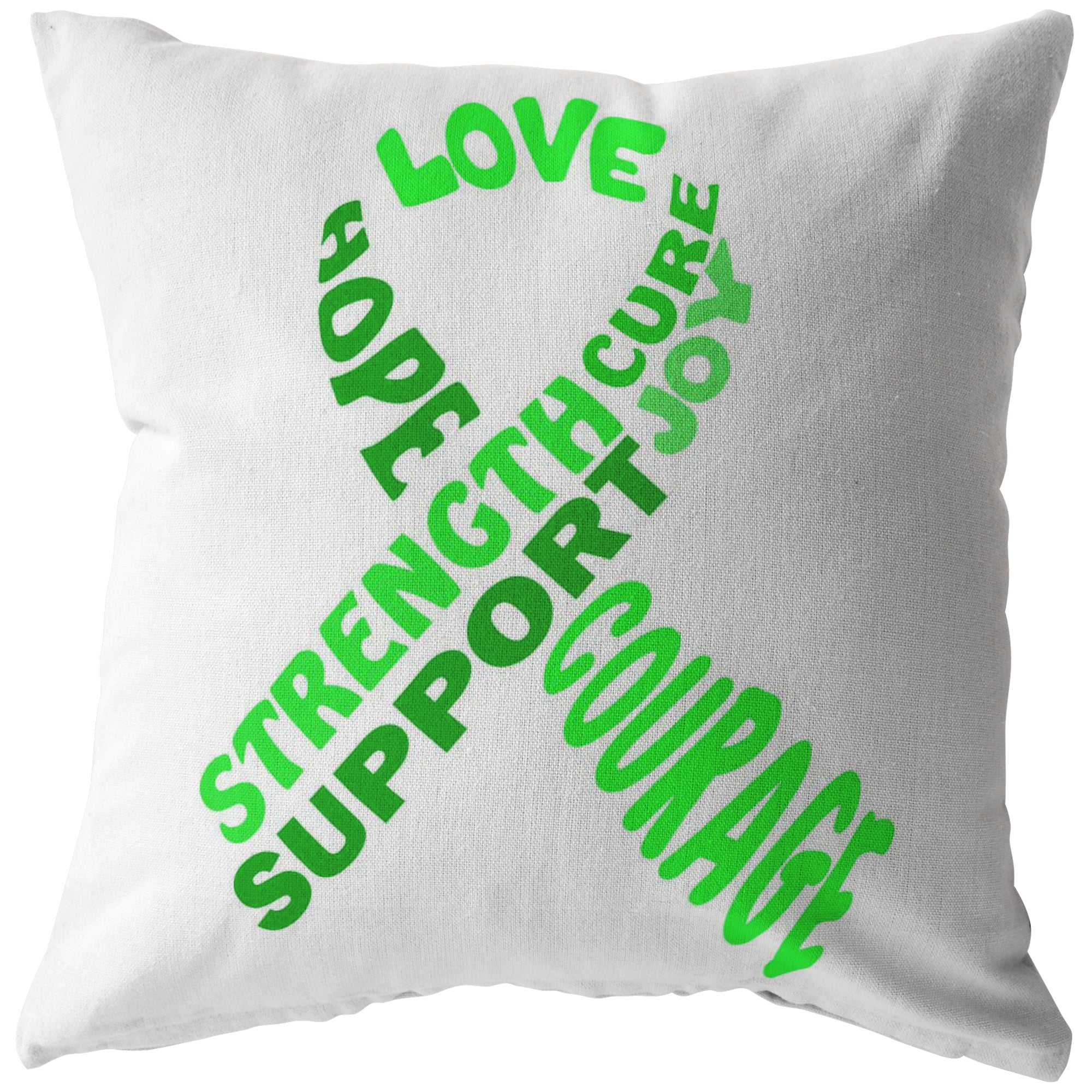 Green Awareness Ribbon With Words Pillow