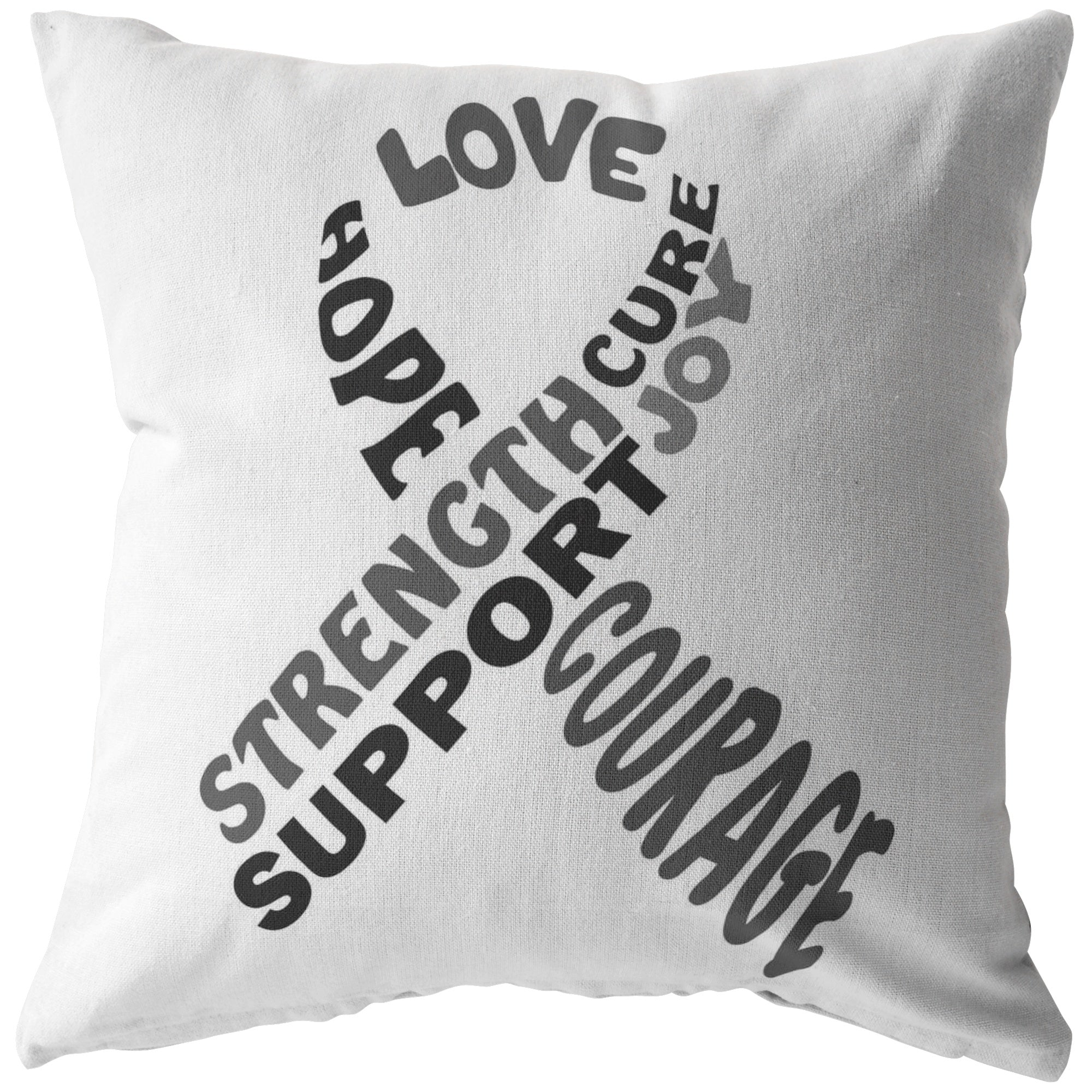 Grey Awareness Ribbon With Words Pillow - The Unchargeables