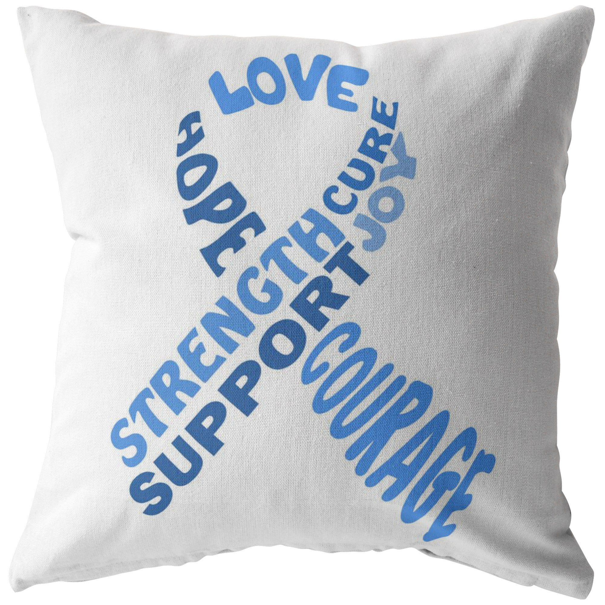 Light Blue Awareness Ribbon With Words Pillow - The Unchargeables