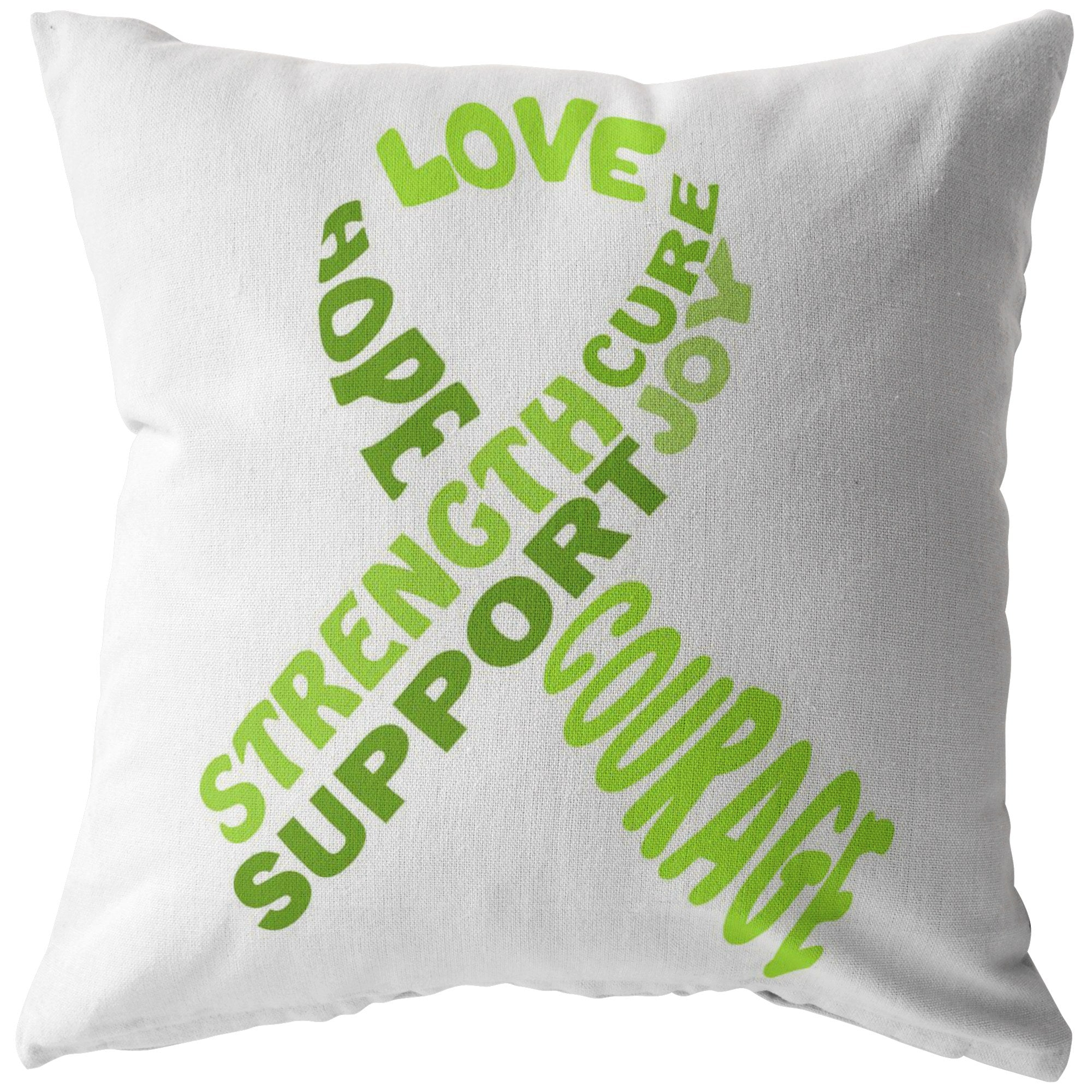 Lime Green Awareness Ribbon With Words Pillow - The Unchargeables