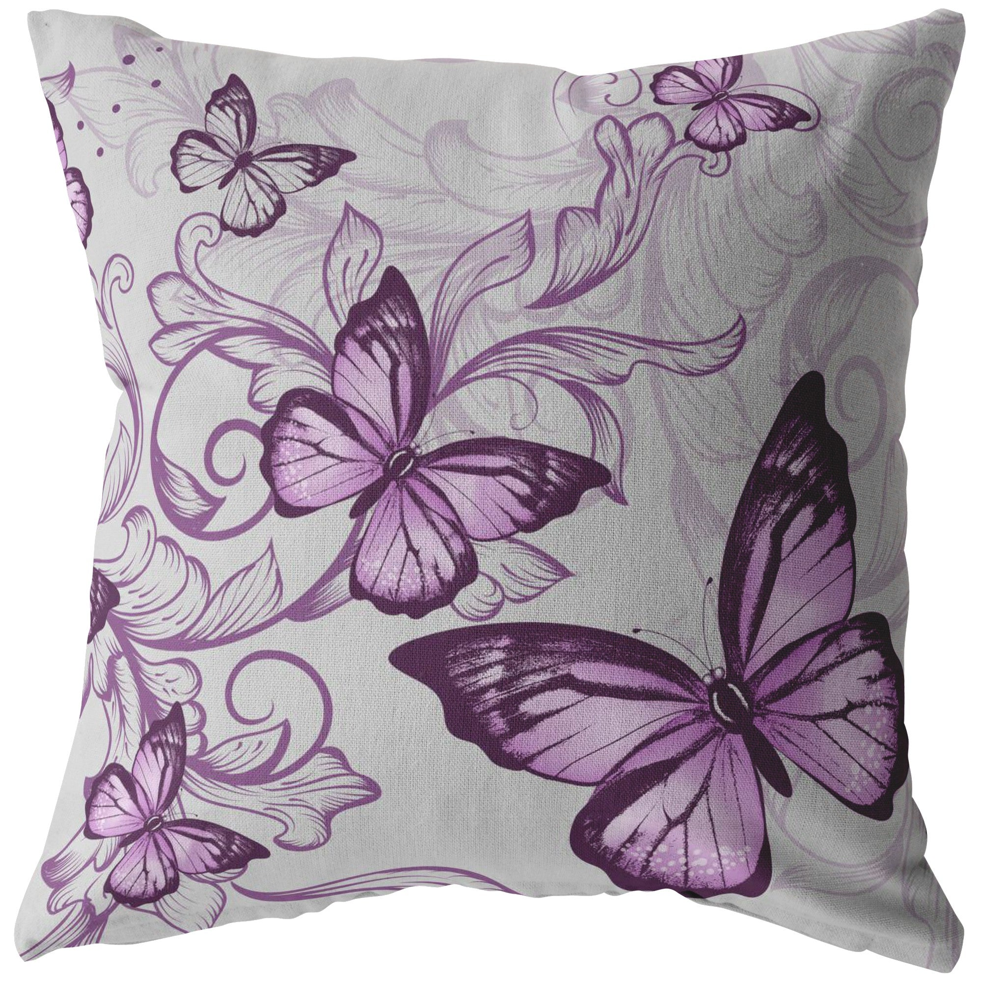 Purple Butterflies Pillow In Grey