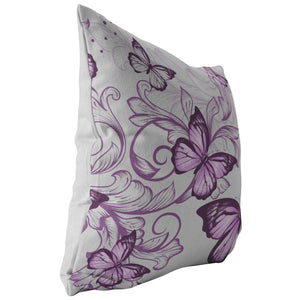 Purple Butterflies Pillow In Grey - The Unchargeables