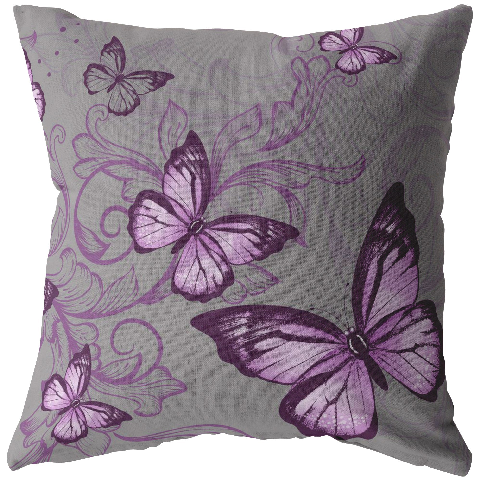 Purple Butterfly Pillow In Dark Grey - The Unchargeables
