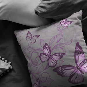 Purple Butterfly Pillow In Dark Grey