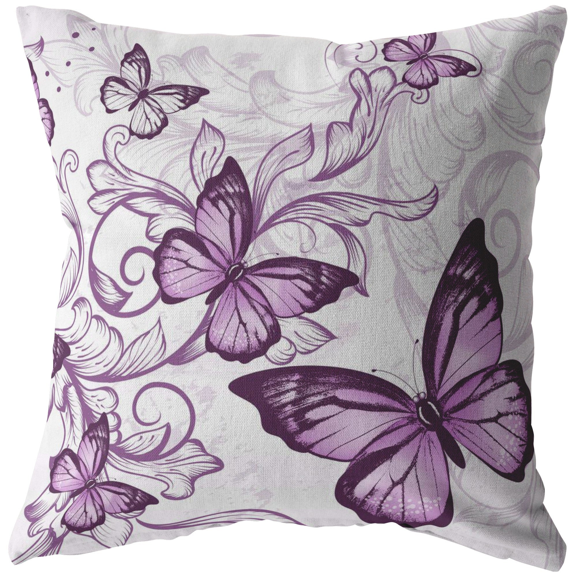 Purple Butterfly Pillow in White