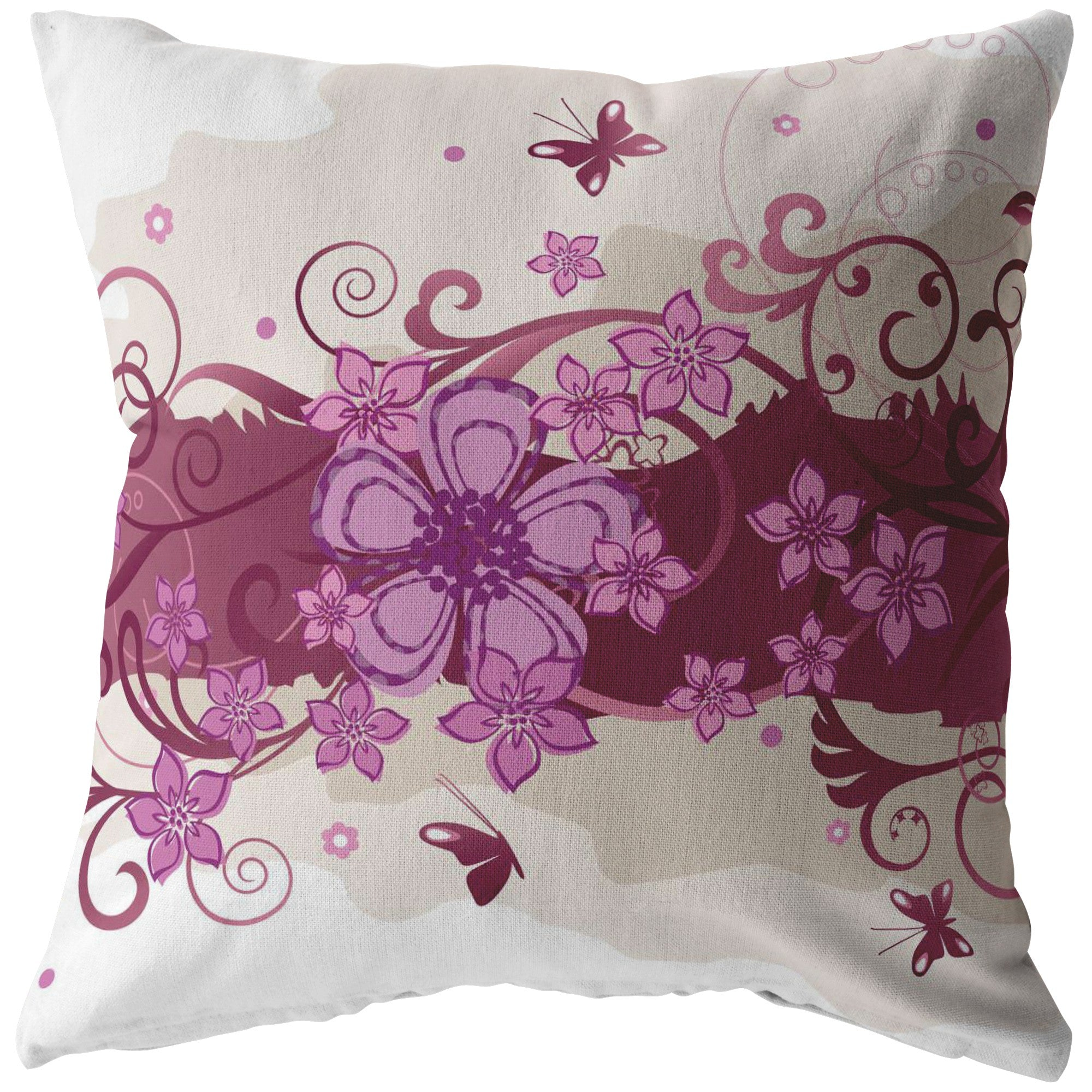 Purple Flowers and Butterflies Pillow