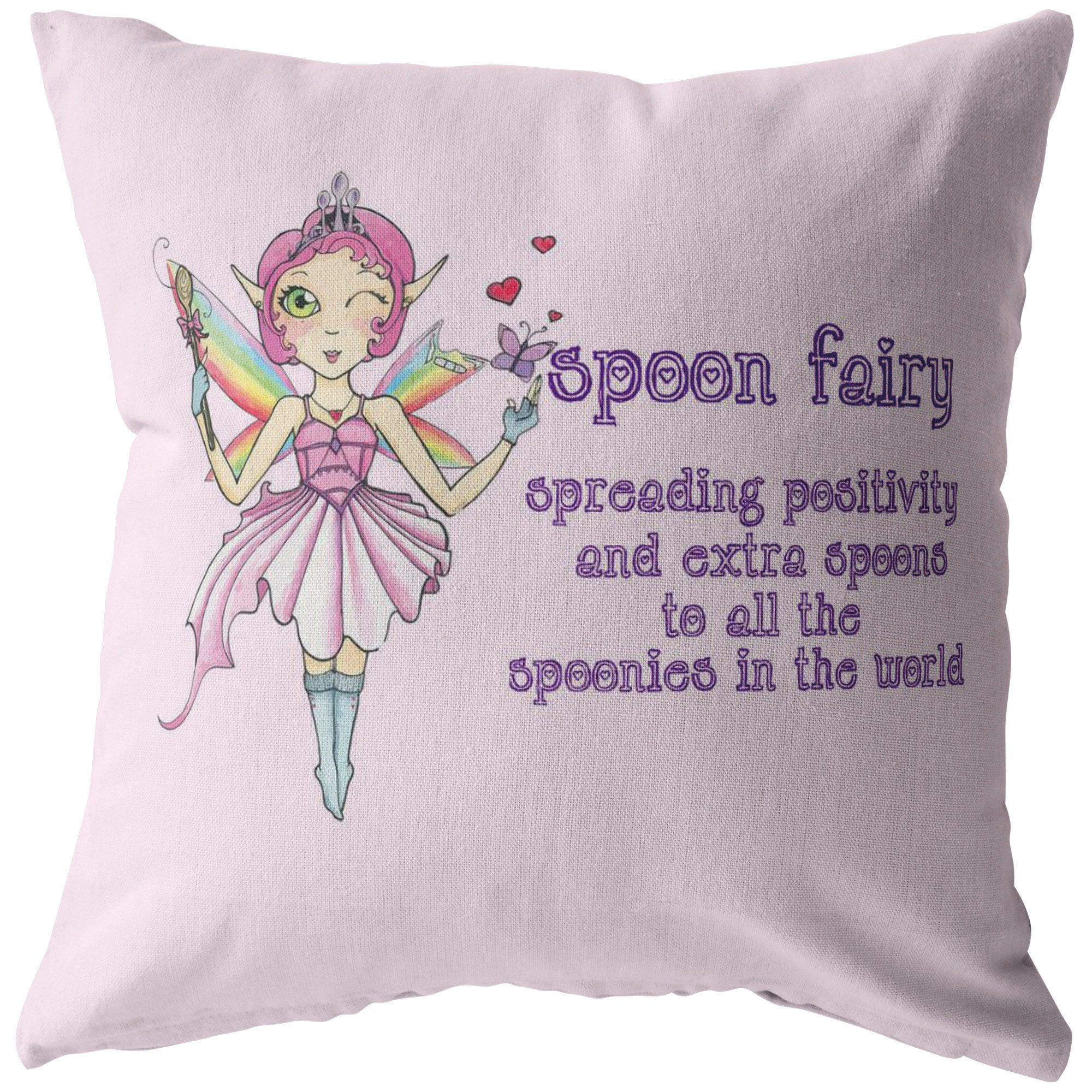 Spoon Fairy With Text Pillow - The Unchargeables