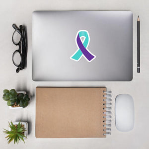 Purple and Turquoise Awareness Ribbon Sticker - The Unchargeables