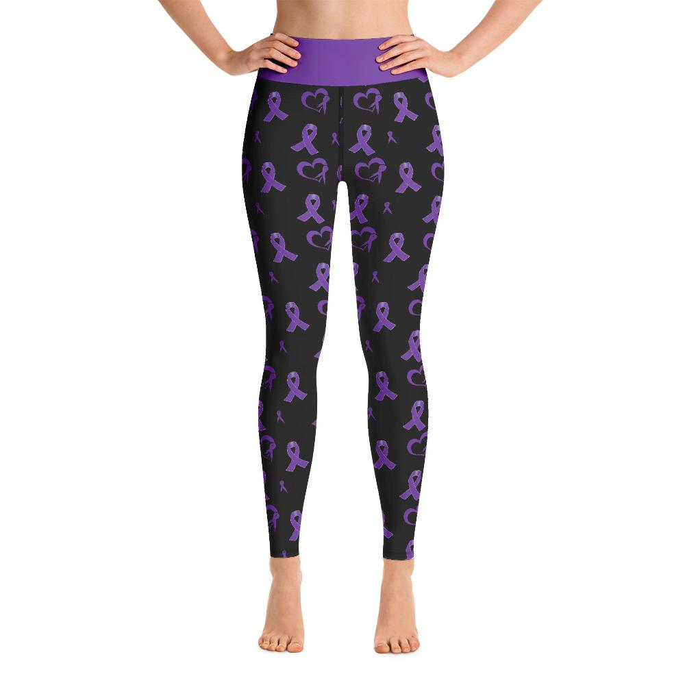 Purple Awareness Ribbon Leggings with High Waist