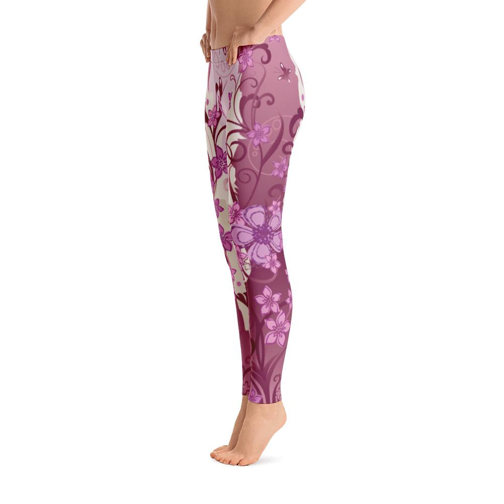 Purple Flowers With Butterflies Leggings