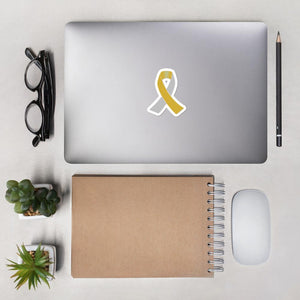 Silver and Gold Awareness Ribbon Sticker