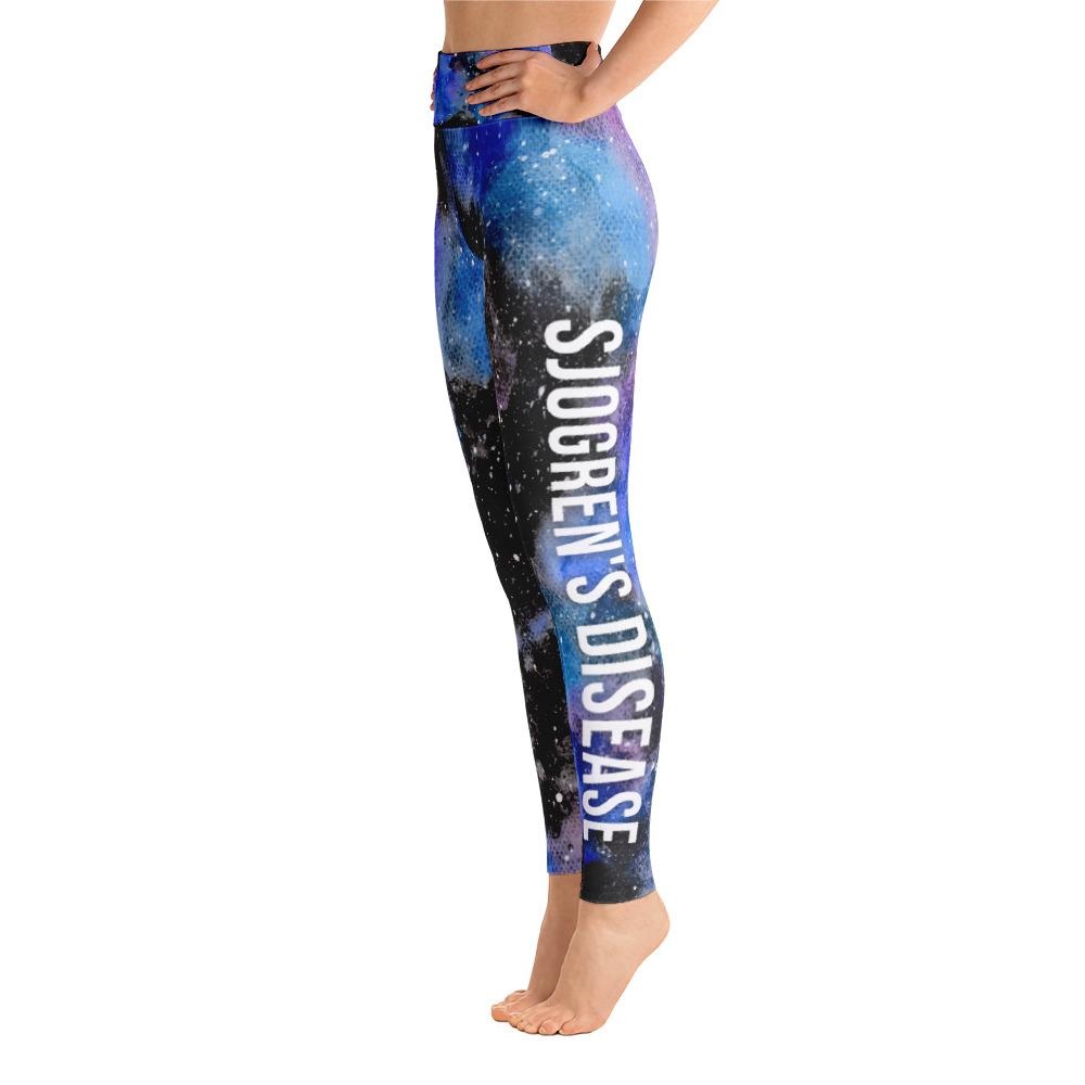 Sjogren's Syndrome- Sjogren's Warrior NFTW Black Galaxy Yoga Leggings With High Waist and Coin Pocket - The Unchargeables