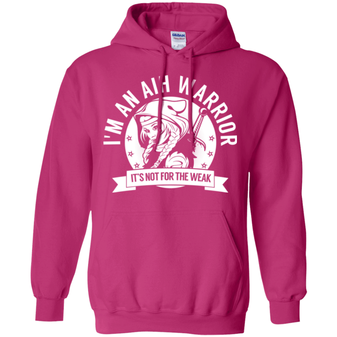Autoimmune Hepatitis - AIH Warrior Hooded Pullover Hoodie 8 oz. - The Unchargeables