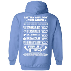Battery Analogy Pullover Hoodie 8 oz. (Backprint) - The Unchargeables