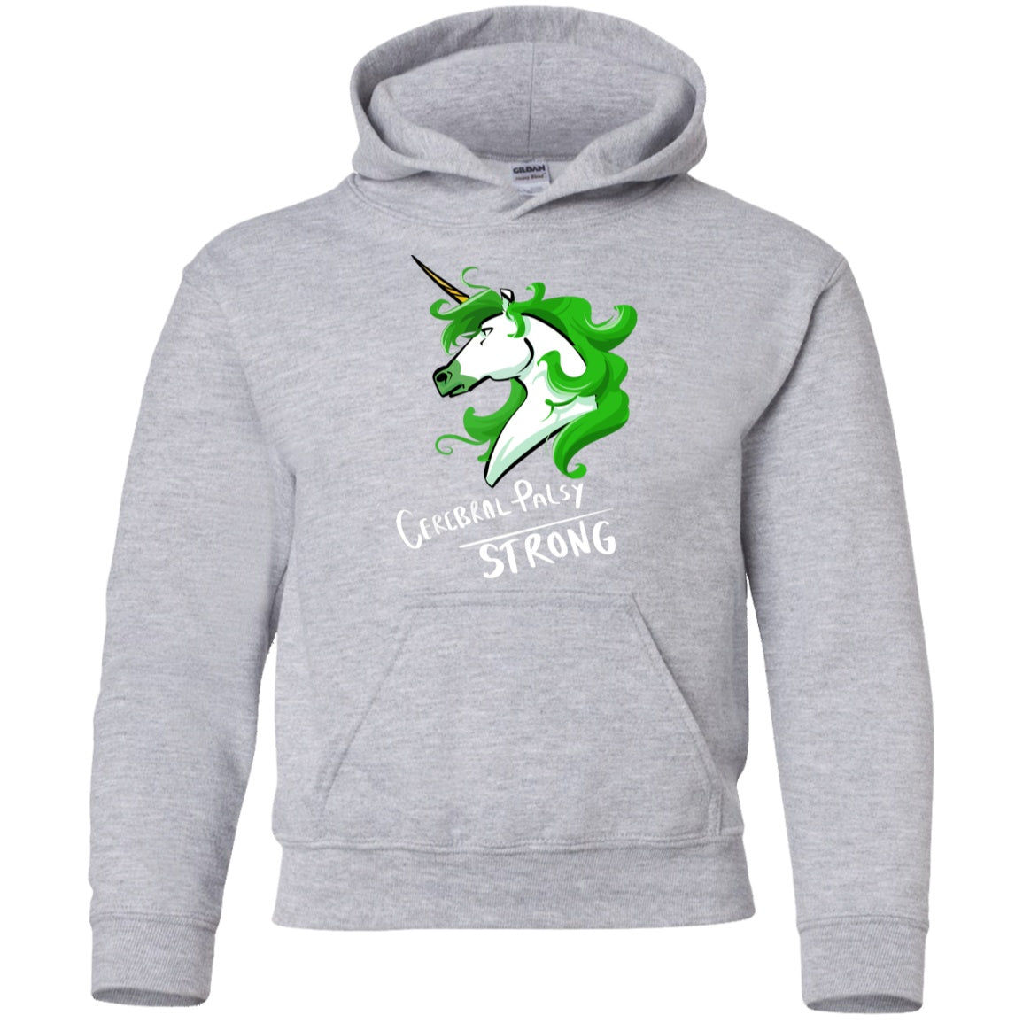Cerebral Palsy Strong Unicorn Youth Pullover Hoodie - The Unchargeables
