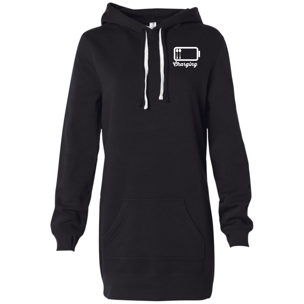 Charging White Women's Hooded Pullover Dress - The Unchargeables