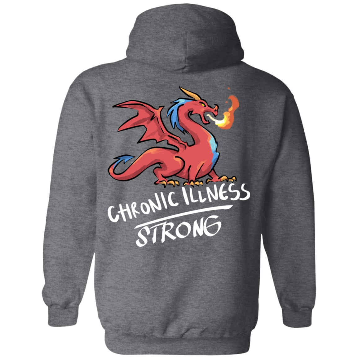 Chronic Illness Strong Dragon Pullover Hoodie 8 oz. - The Unchargeables