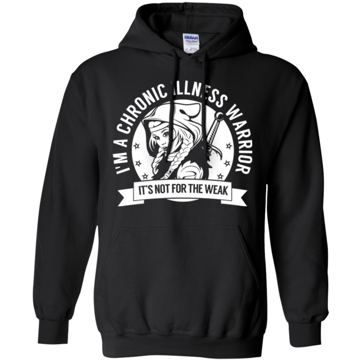 Chronic Illness Warrior Hooded Pullover Hoodie 8 oz. - The Unchargeables