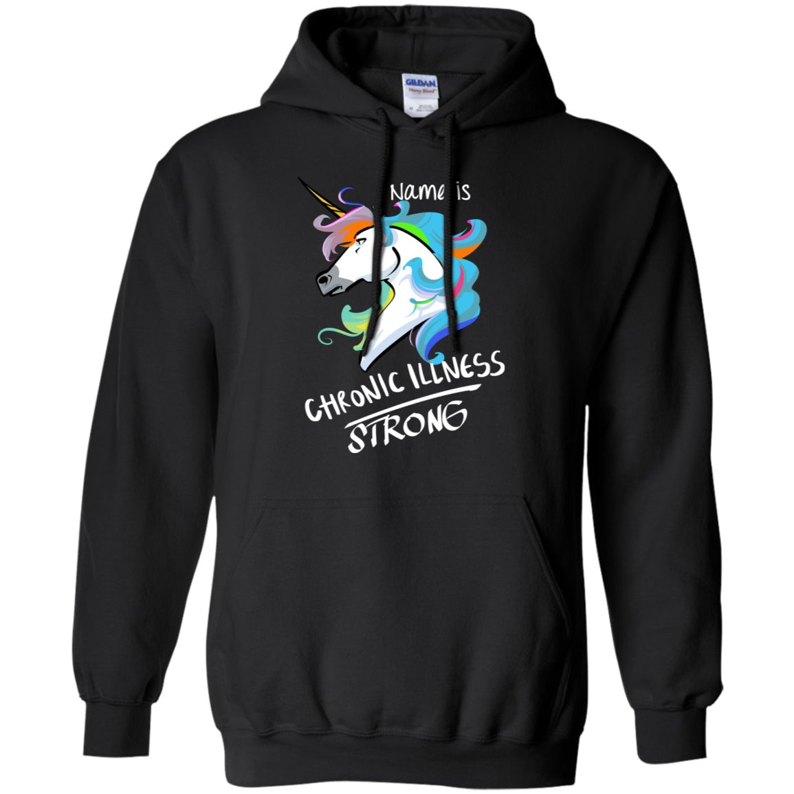 Customisable Chronic Illness Strong Unicorn Pullover Hoodie 8 oz. - The Unchargeables