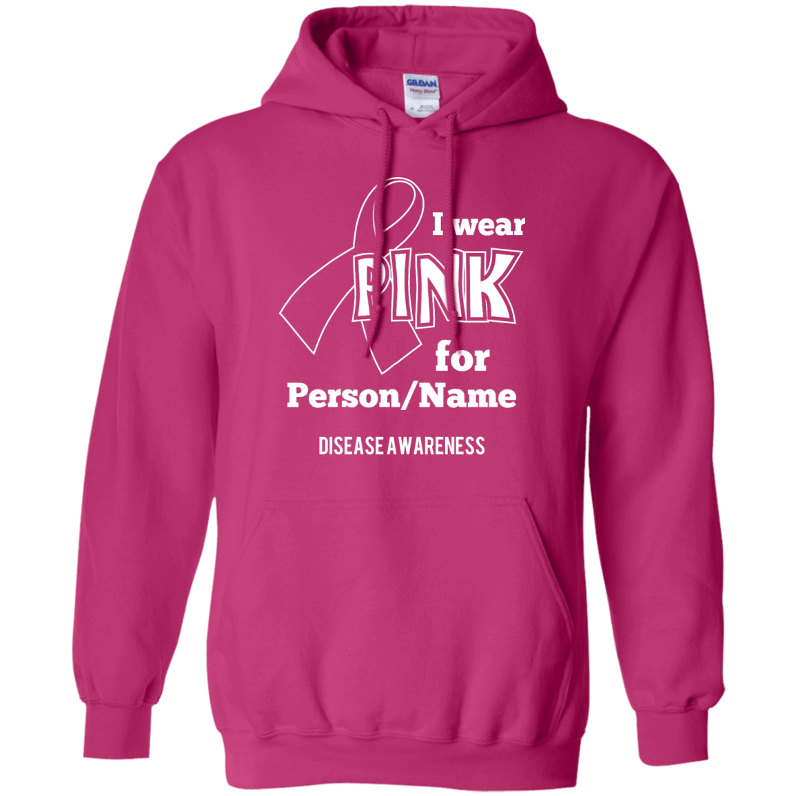 Customisable I Wear Pink For Pullover Hoodie 8 oz - The Unchargeables