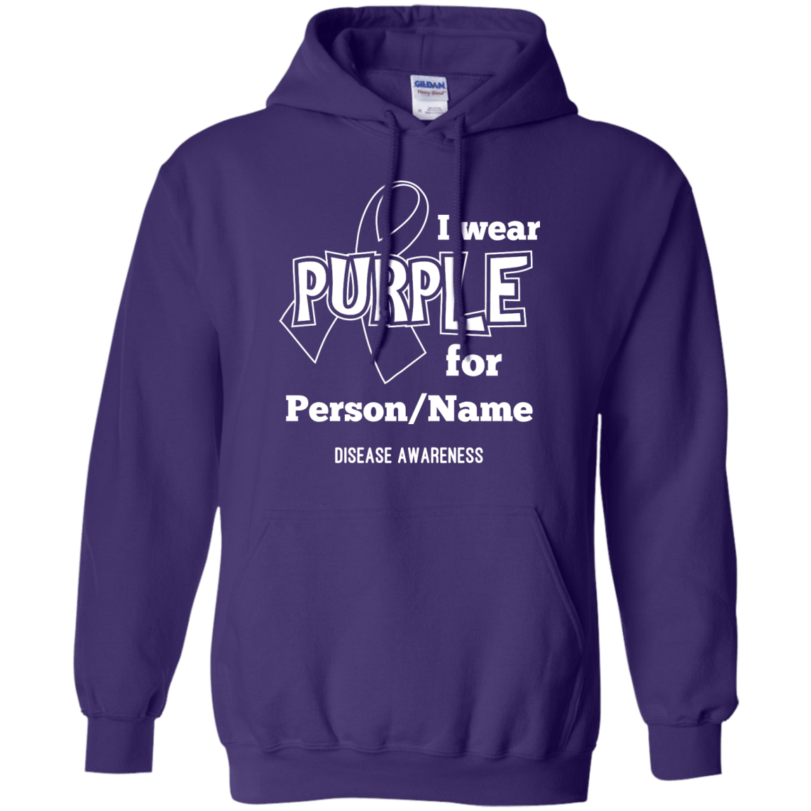 Customisable I Wear Purple For Pullover Hoodie 8 oz - The Unchargeables