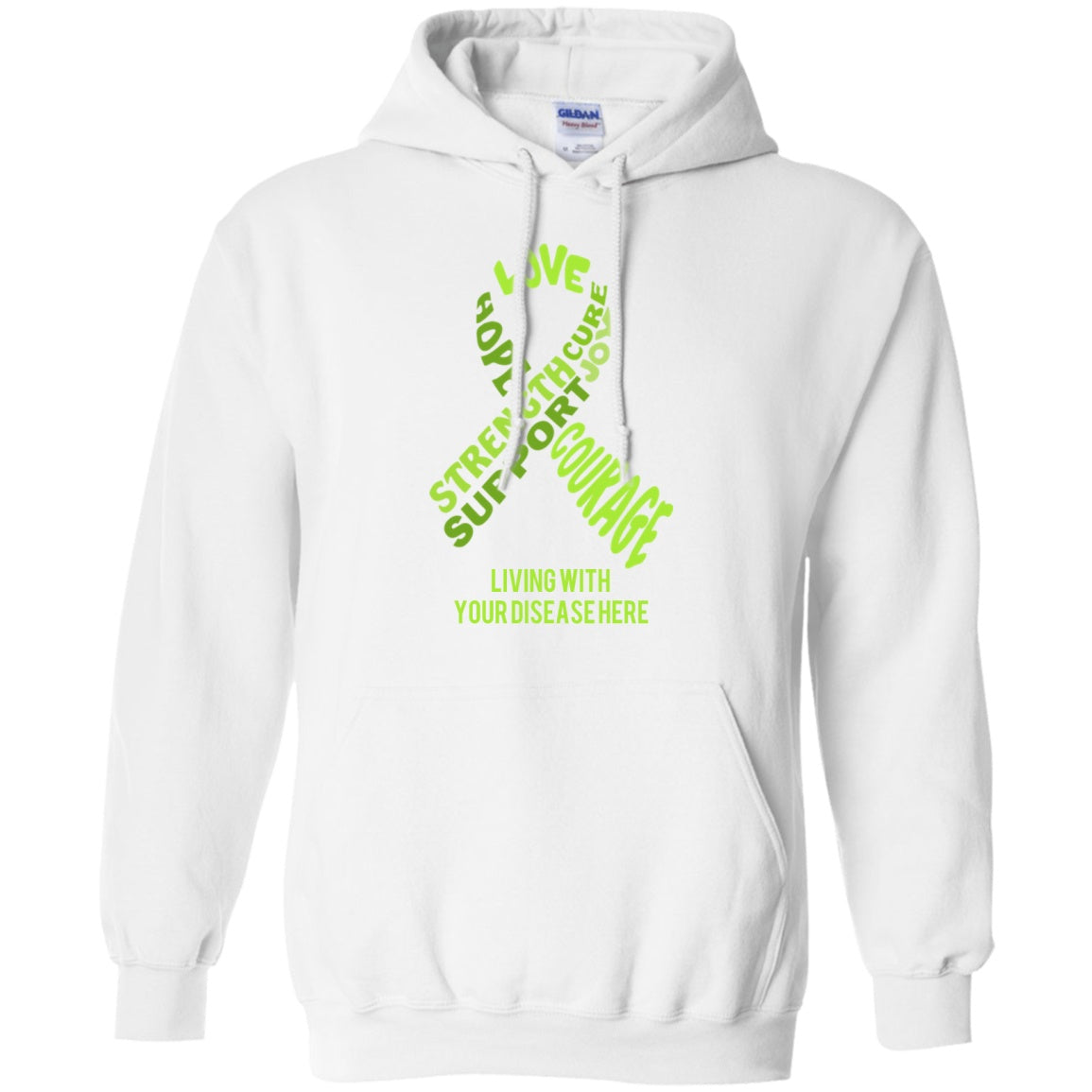 Customisable Lime Green Awareness Ribbon With Words Pullover Hoodie 8 oz. - The Unchargeables