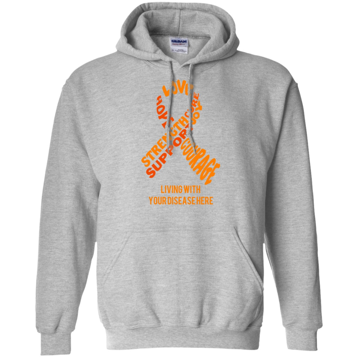 Customisable Orange Awareness Ribbon With Words Pullover Hoodie 8 oz. - The Unchargeables