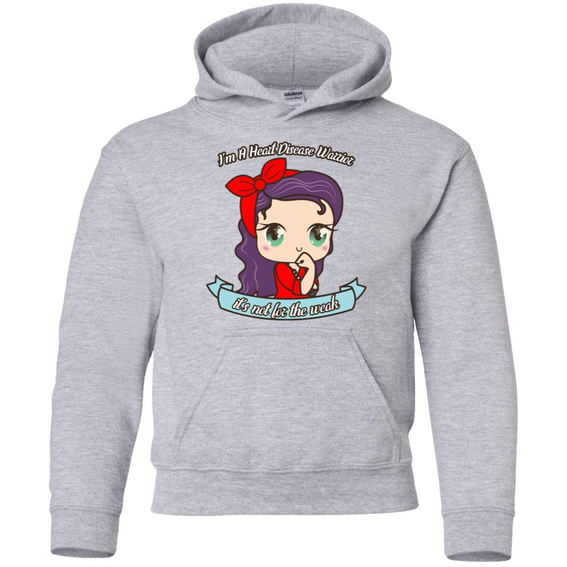 Cute Heart Disease Warrior Youth Pullover Hoodie - The Unchargeables