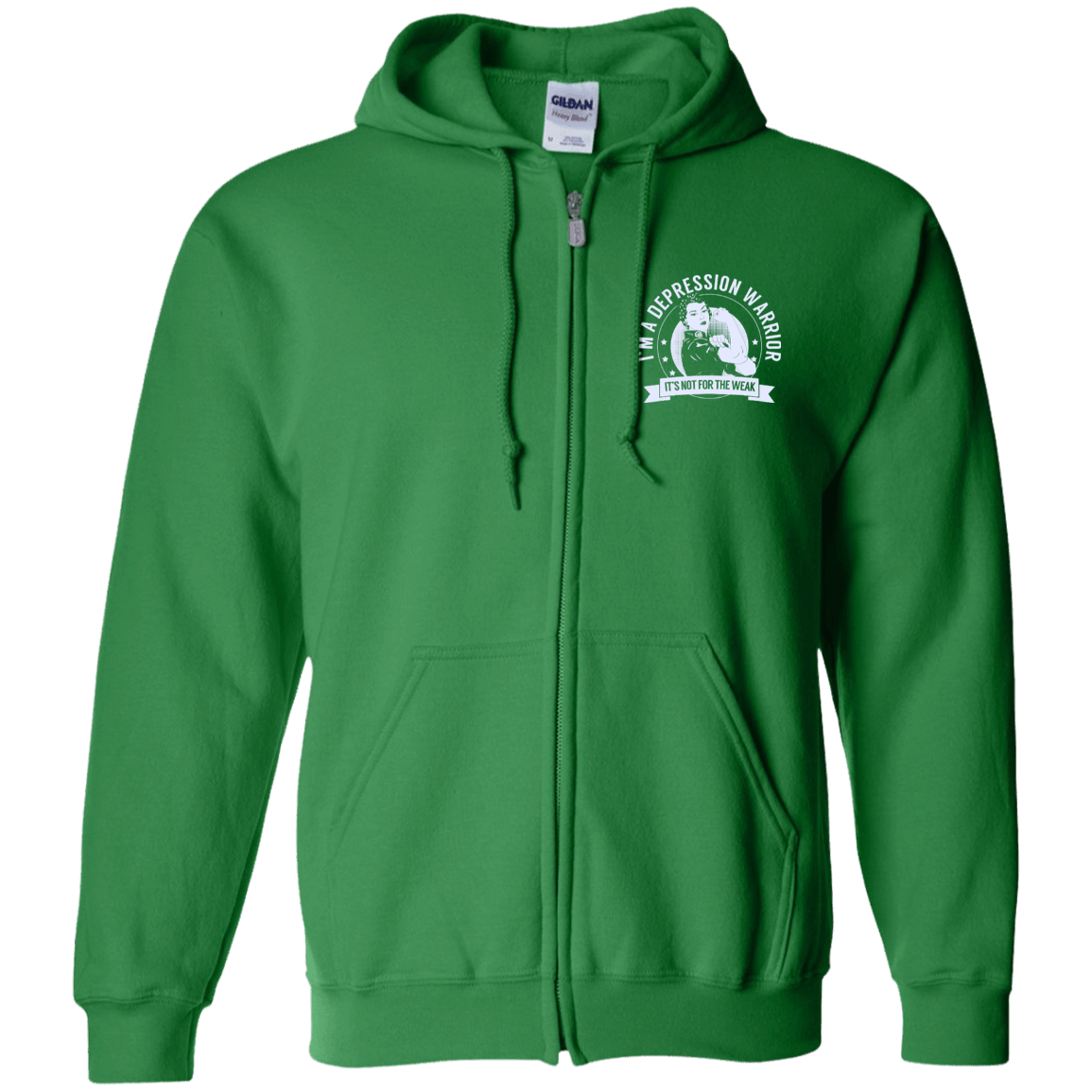Sweatshirts - Depression Warrior Not For The Weak Zip Up Hooded Sweatshirt