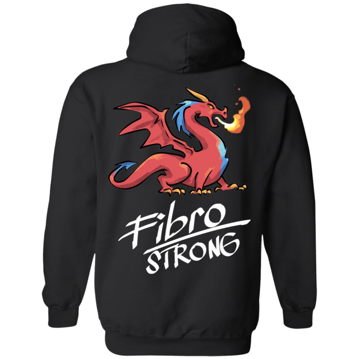 Fibro Strong Dragon (Back Print) Pullover Hoodie 8 oz. - The Unchargeables