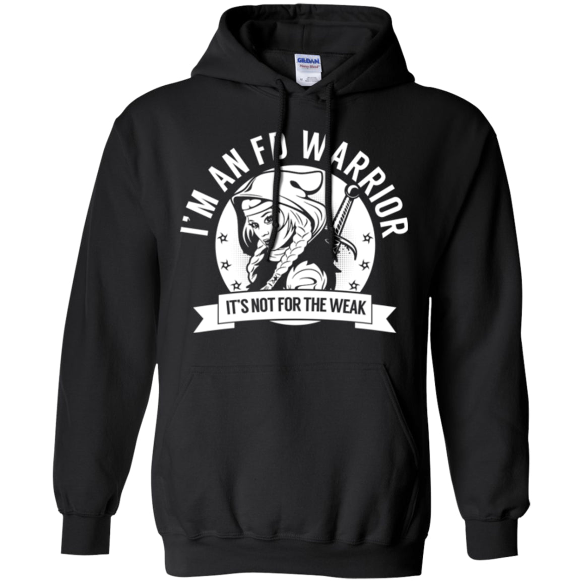 Fibrous Dysplasia - FD Warrior Hooded Pullover Hoodie 8 oz. - The Unchargeables
